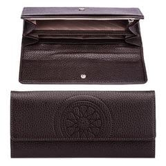 Портмоне женское FABULA «Talisman», натуральная кожа, кнопка, тиснение, 200×95 мм, шоколадное