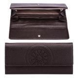 Портмоне женское FABULA «Talisman», натуральная кожа, кнопка, геометрическое тиснение, 200×95 мм, шоколадное