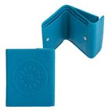 Портмоне женское FABULA «Talisman», натуральная кожа, кнопка, геометрическое тиснение, 102×105 мм, голубое