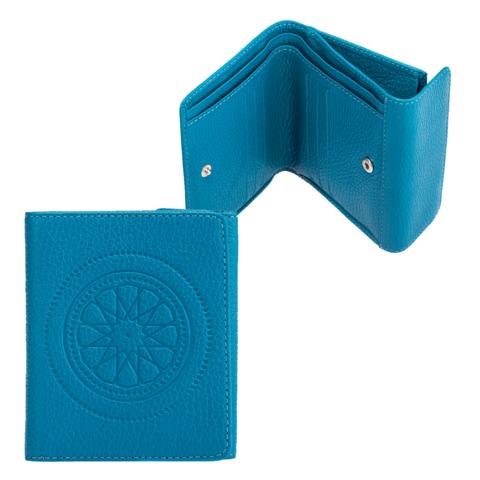 """Портмоне женское FABULA """"Talisman"""", натуральная кожа, кнопка, геометрическое тиснение, 102х105 мм, голубое"""
