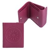 Портмоне женское FABULA «Talisman», натуральная кожа, кнопка, геометрическое тиснение, 102×105 мм, малиновое