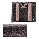 Футляр для ключей FABULA «Croco Nile», натуральная кожа, кнопки, крокодил, 110×60×15 мм, черный