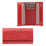 Футляр для ключей FABULA «Croco Nile», натуральная кожа, кнопки, крокодил, 110×60×15 мм, красный