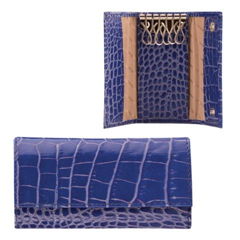 """Футляр для ключей FABULA """"Croco Nile"""", натуральная кожа, кнопки, крокодил, 110x60x15 мм, синий"""