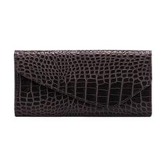 Портмоне женское FABULA «Croco Nile», натуральная кожа, кнопка, крокодил, 205×105 мм, черное