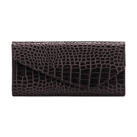 """Портмоне женское FABULA """"Croco Nile"""", натуральная кожа, кнопка, крокодил, 205х105 мм, черное"""