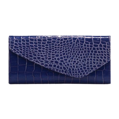 """Портмоне женское FABULA """"Croco Nile"""", натуральная кожа, кнопка, крокодил, 205х105 мм, синее"""