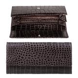 Портмоне женское FABULA «Croco Nile», натуральная кожа, кнопка, крокодил, 200×95 мм, черное