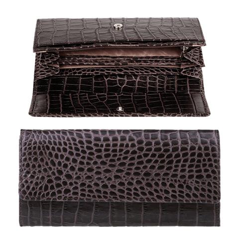 """Портмоне женское FABULA """"Croco Nile"""", натуральная кожа, кнопка, крокодил, 200х95 мм, черное"""