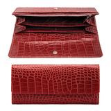Портмоне женское FABULA «Croco Nile», натуральная кожа, кнопка, крокодил, 200×95 мм, красное