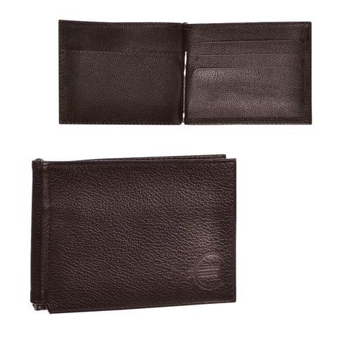 Зажим для купюр BEFLER «Грейд», натуральная кожа, тиснение «знак евро», 120×86 мм, коричневый