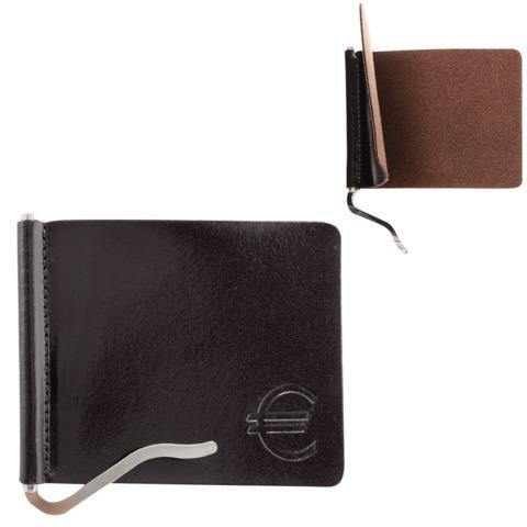Зажим для купюр BEFLER «Classic», натуральная кожа, тиснение «знак евро», 105×86 мм, коричневый