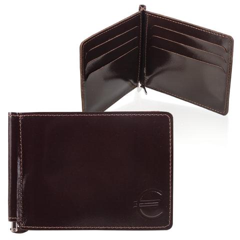 Зажим для купюр BEFLER «Classic», натуральная кожа, тиснение «знак евро», 120×86 мм, коричневый