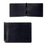 Зажим для купюр FABULA «Kansas», натуральная кожа, контрастная отстрочка, тиснение «евро», 105×86 мм, черный