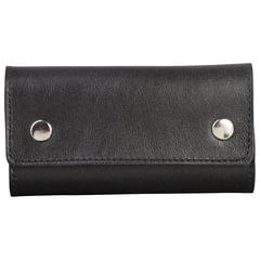 Футляр для ключей FABULA «Estet», натуральная кожа, на кнопках, 60×110×25 мм, черный