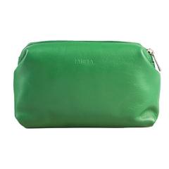 Косметичка женская FABULA «Every day», натуральная кожа, молния, 210×80×115 мм, зеленая