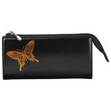 Портмоне женское BEFLER «Бабочка», натуральная кожа, молния, тиснение, 190×105 мм, черное