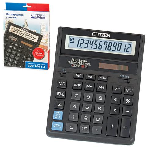 Калькулятор CITIZEN настольный SDC-888T, 12 разрядов, двойное питание, 205×159 мм