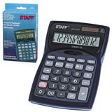 Калькулятор STAFF настольный STF-7212, 12 разрядов, двойное питание, 150×100 мм