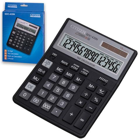 Калькулятор CITIZEN настольный SDC-435N, 16 разрядов, двойное питание, 204х158 мм