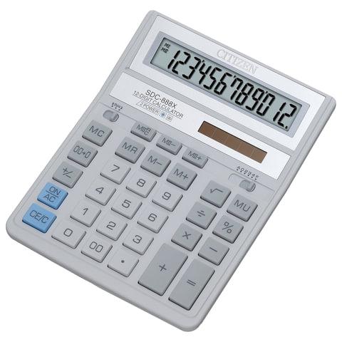 Калькулятор CITIZEN настольный SDC-888 XWH, 12 разрядов, двойное питание, 205×159 мм, белый