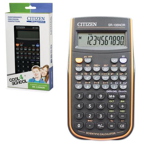 Калькулятор CITIZEN инженерный SR-135NORCFS, 8+2 разрядов, питание от батарейки, 154×84 мм, сертифицирован для ЕГЭ