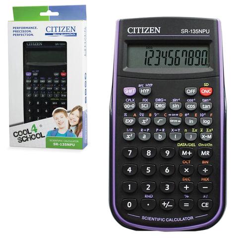 Калькулятор CITIZEN инженерный SR-135NPUCFS, 8+2 разрядов, питание от батарейки, 154х84 мм, сертифицирован для ЕГЭ