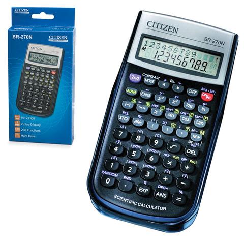 Калькулятор CITIZEN инженерный SR-270N, 10+2 разрядов, питание от батарейки, 154х80 мм, сертифицирован для ЕГЭ