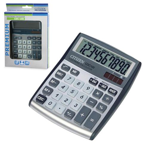 Калькулятор CITIZEN настольный CDC-100WB, 10 разрядов, двойное питание, 135×108 мм