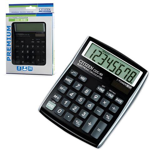 Калькулятор CITIZEN настольный CDC-80BKWB, 8 разрядов, двойное питание, 135×108 мм, черный