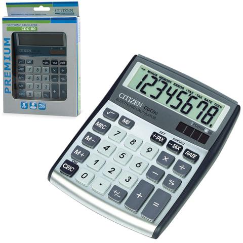 Калькулятор CITIZEN настольный CDC-80WB, 8 разрядов, двойное питание, 135×108 мм