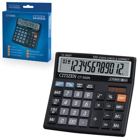 Калькулятор CITIZEN настольный CT-555N, 12 разрядов, двойное питание, 130×128 мм