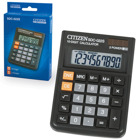 Калькулятор CITIZEN настольный SDC-022S, 10 разрядов, двойное питание, 87×120 мм