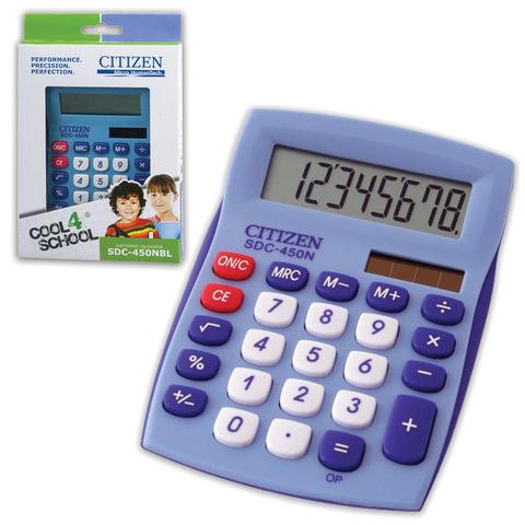 Калькулятор CITIZEN настольный SDC-450NBLCFS, 8 разрядов, двойное питание, 120×87 мм, синий