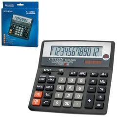 Калькулятор CITIZEN настольный SDC-620II, 12 разрядов, двойное питание, 156×156 мм