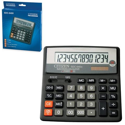 Калькулятор CITIZEN настольный SDC-640II, 14 разрядов, двойное питание, 156×156 мм