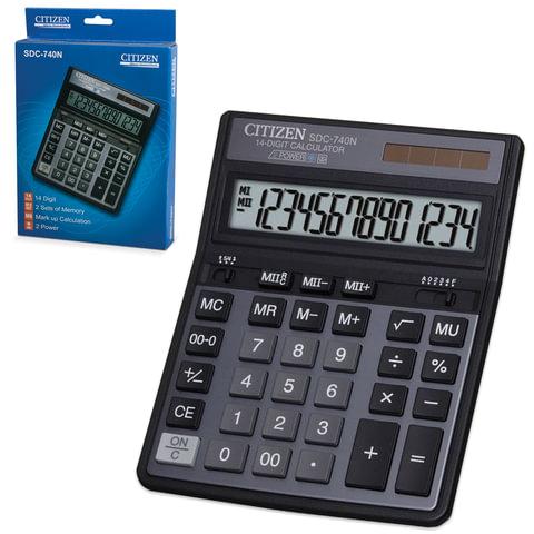 Калькулятор CITIZEN настольный SDC-740N, 14 разрядов, двойное питание, 203×158 мм