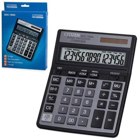 Калькулятор CITIZEN настольный SDC-760N, 16 разрядов, двойное питание, 203×158 мм