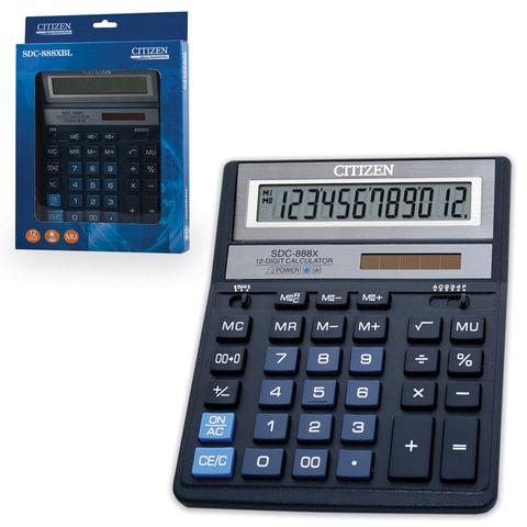 Калькулятор CITIZEN настольный SDC-888XBL, 12 разрядов, двойное питание, 203х158 мм, синий