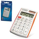 Калькулятор CITIZEN карманный SLD-322RG, 10 разрядов, двойное питание, 105×64 мм, белый/<wbr/>оранжевый