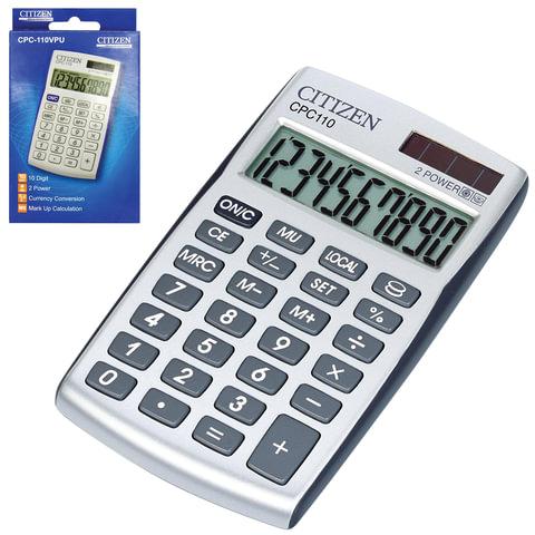 Калькулятор CITIZEN карманный CPC-110WB, 10 разрядов, двойное питание, 105×64 мм