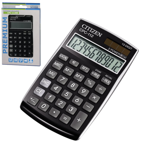 Калькулятор CITIZEN карманный CPC-112BKWB, 12 разрядов, двойное питание, 120×72 мм, черный