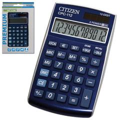 Калькулятор CITIZEN карманный CPC-112BLWB, 12 разрядов, двойное питание, 120×72 мм, синий