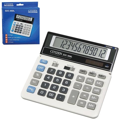 Калькулятор CITIZEN настольный SDC-868L, 12 разрядов, двойное питание, 152×153 мм