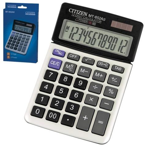 Калькулятор CITIZEN настольный MT-852AII, 12 разрядов, двойное питание, 160×104 мм