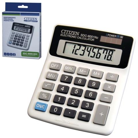 Калькулятор CITIZEN настольный SDC-8001NII, 8 разрядов, двойное питание, 127×107 мм