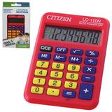 Калькулятор CITIZEN карманный LC-110NRDCFS, 8 разрядов, двойное питание, 87×58 мм, красный