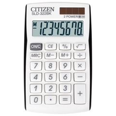 Калькулятор CITIZEN карманный SLD-322BK, 8 разрядов, двойное питание, 105×64 мм