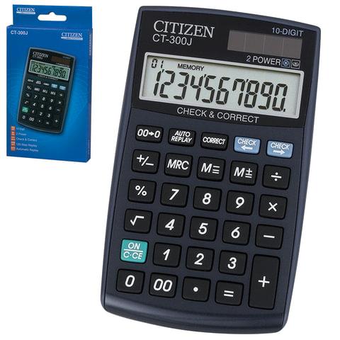 Калькулятор CITIZEN настольный CT-300J, 10 разрядов, двойное питание, 120×72 мм