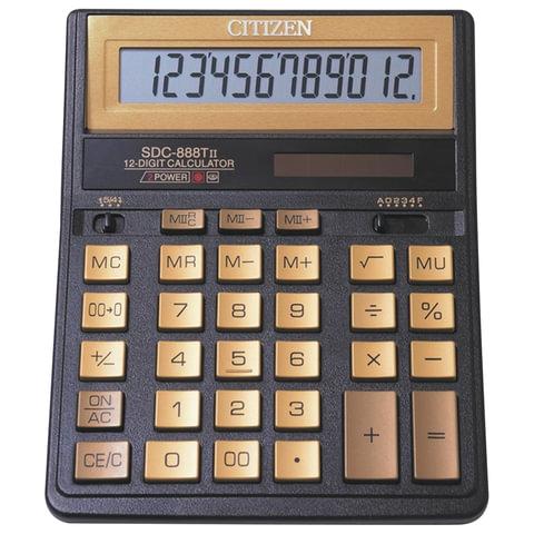 Калькулятор CITIZEN настольный, SDC-888TIIGE Gold, 12 разрядов, двойное питание, 205×159 мм, золотой